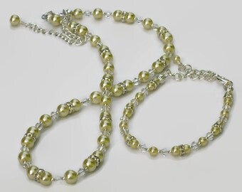 Pastel Yellow Pearl Swarovski Crystal Necklace Bracelet, Gifts for Women Under 50, Wedding Jewelry, Bridesmaid, Black Friday, Cyber Monday