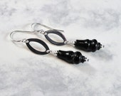 Serpentine Vase Earrings, Silver Plated Oval Accent, Sterling Silver Earwires, Therapeutic Gemstones