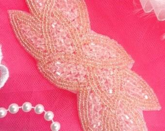 """JB31 Pale Light Pink Designer Glass Beaded Applique 6"""" ( JB31-ppk )"""