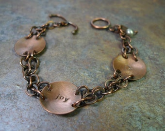 Joy Hammered Copper Discs Bracelet