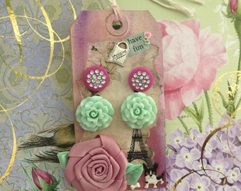 Pink Button Post Earrings Mint Green Flower Earrings on Gift Art Tag Cottage Chic Stock Clearance
