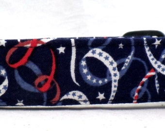 Ribbons and Celebration Red White and Blue Ribbons on Blue Dog Collar July 4th