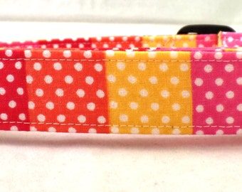 Polka Dot Lovers Dream Pink Orange Red Yellow with White Polka Dots Dog Collar