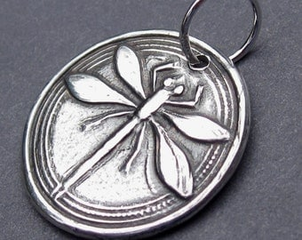 Dragonfly Charm Pendant Fine Silver PMC with Sterling Silver Jump Ring