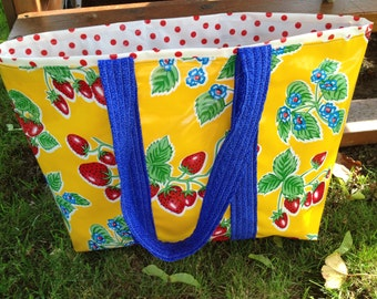 June in Ct. large retro oilcloth tote bag with strawberries on sunshine yellow