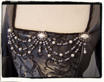 White and Pewter Pearl Bodice Jewelry Renaissance Medieval Game of Thrones Costume Pearls