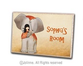 Elephant and girl door sign, personalized kids sign, childrens art