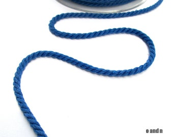 Summer blue twisted cotton cord, 4mm, 3 meters