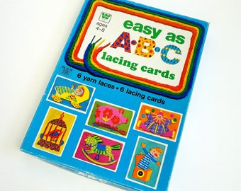 Whitman Easy As ABC Lacing Cards 70s / Complete