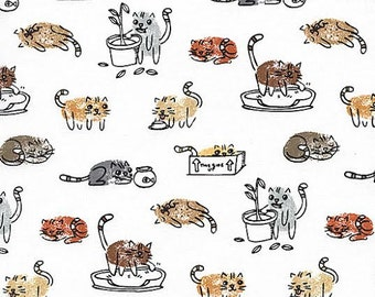 Samarra Thumb Fabric by Timeless Treasures Sketched Cats Playing Outside on Creamy White