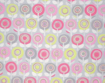 Palermo Fabric by Erin McMorris Adela YELLOW Pink Circle Striped Stripes Floral Flowers on Gray Grey
