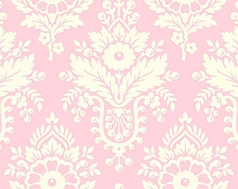 Up Parasol Fabric by Heather Bailey Lulu White Damask Floral Flowers on Light Pink Heather