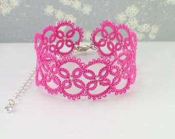 Hot Pink Bracelet - Statement Bracelet - Pink Lace - Prom Bracelet - Prom Jewelry - Gift for Teen Girls - Gift for Women
