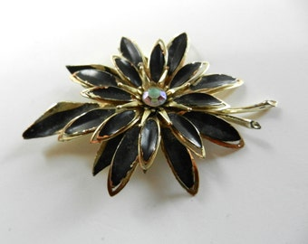 1950s Large Liberty brooch -  poinsettia flower, petals blacks and gold - three dimensional brooch - it's party time---Art.946/2-- -