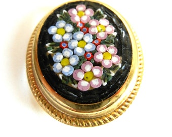 1950  Italian Vintage fabulous and antique micro mosaic oval brooch  - Italian Florentine Art - Art.487/3 -