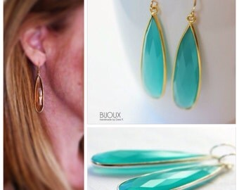 Aqua Blue Chalcedony Long Earrings - Bezel Set