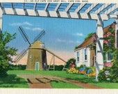 Cape Cod, Mass, An Old Cape Codd Grist Mill. Vintage Linen 1940's Postcard