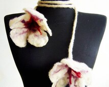 felted white flowers cluster fiber scarf statement necklace lariat, spring necklace