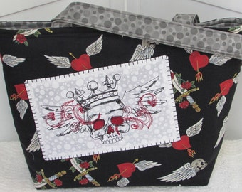 Skulls and Daggers Large Tote Bag Black and Grey Tattoo Purse Ready to Ship