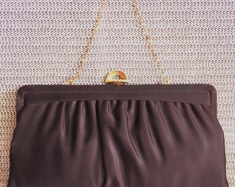 Vintage Pleated Fabric Clutch with Gold Chain Handle