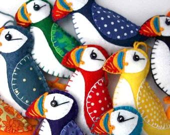 Puffin Christmas ornament, Felt puffin ornament, Felt bird ornament, Handmade bird Christmas ornament, Colourful puffin decoration.