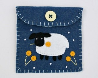 Felt coin purse, Handmade felt sheep purse, sheep gift bag, blue felt purse, Irish sheep, floral felt purse, blue felt pouch, Irish gift