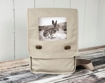 Vintage Jack Rabbit - Vintage Photograph from 1920's - Field Bag - Messenger Bag - School Bag - Canvas Bag - Natural Stone