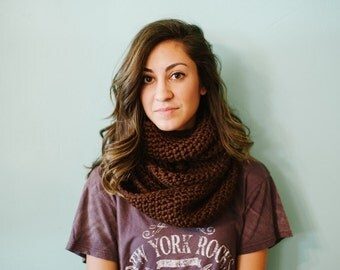 Brown infinity scarf, chunky infinity scarf, brown scarf, scarf, brown, crochet, fall, winter, crochet, valentines day