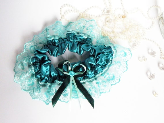 Wedding Bridal Garter with Lace Embellishment Teal color with ribbon rose