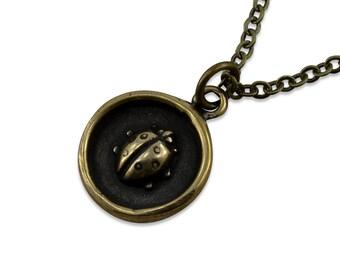 Lady Bug Necklace - Simple Bronze Lady Bug Pendant  Charm Tiny Charm