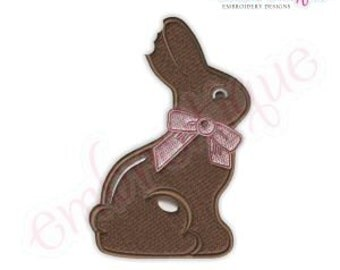 Chocolate Bunny Filled Embroidery Design-  -Instant Download Digital Files for Machine Embroidery