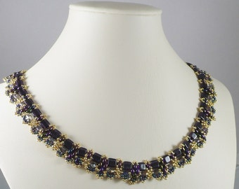 Amethyst Necklace Czechmate and Twin Beads