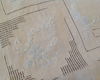 Beautiful Antique Small Table Topper White Pale Blue Embroidered Cutwork Appenzell