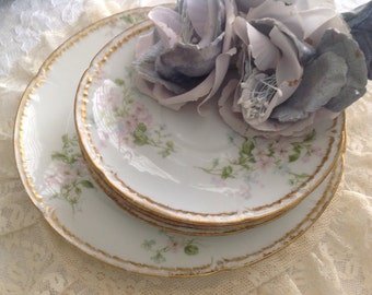 Vintage Haviland Limoge~ Beautiful Dainty Floral Design ~ Salad Plate ~ Saucers ~ Fine China ~ Unique Gift for Mom, Grandma