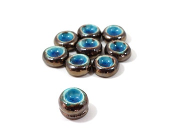 Candles holder OOAK Ceramic round flowers in golden brown and aqua turquoise