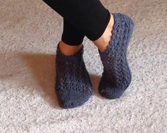 Dark  Grey, Warm Slippers, Handmade Slippers