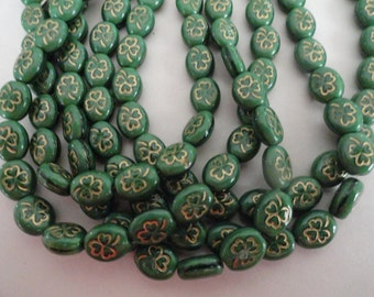 Czech Glass Flowers Clovers Shamrocks Opaque Green Gold Etching Plants Beads 9/10mm Earrings Bracelets Necklaces Crafts St Patricks Day 12