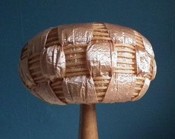 Vintage 1960s Womens Pill Box Hat Woven Bronze Metallic Straw Cellophane Type 60s Basketweave Design
