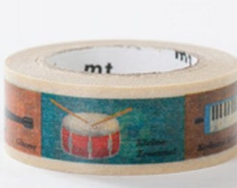 Music Instrument - Japanese Washi Paper Masking Tape - mt for kids - Scrapbooking, Kawaii Collage, Gift Wrapping, Deco Art -  MT01KID011