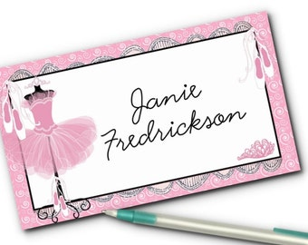 10 Flat Style Place Cards, Buffet Table Food Label Cards, Candy Buffet Labels, Ballerina Tutu, Ballet Slippers, Pink, Birthday, Baby Shower