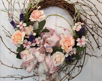 Summer Wreath / Pink Rose Wreath / Sunburst Grapevine Wreath Pink Roses Tapestry Bow