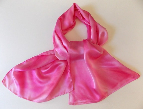 Silk Scarf,Pink,Hand Designed, Cotton Candy Pink,15x60,Or Pretty Table Runner