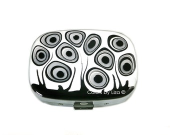 Oval Metal Pill Box with Mirror Hand Painted Enamel Black and White Blossom Inspired Wild Flowers Custom Colors and Personalized Options