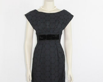 LBD - Vintage Dress - 1950's Black Cotton Eyelet Circles with Big Velvet Bow Dress - 32 / 24 / 34