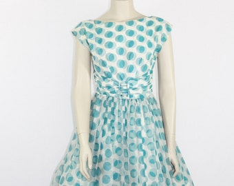 1950s Vintage Party Dress - Novelty Print Turquoise Polka Dots Full Skirt Chiffon Wedding Prom Party Dress - 34 / 26 / full