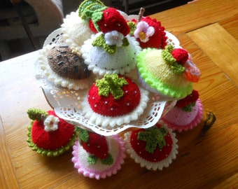 Hand knitted Cupcakes, In many Flavours! SALE x