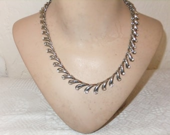 Vintage Necklace Choker Silver Tone Links with Rhinestones Elegant Retro Costume Jewelry