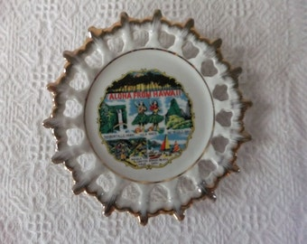 Vintage Aloha from Hawaii Souvenir 50th State Plate Small Collector Retro Travel Vacation Tropical Display