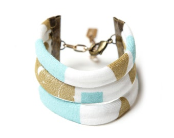Byzantine String Cuff in Blue Mint and Gold on Creme