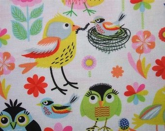 Timeless Treasures Colorful Stylized Birds Cotton Fabric Yard